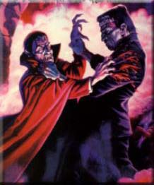A Frankenstein tries to break up a fight between two drunk wolfmen and an enraged Dracula!
